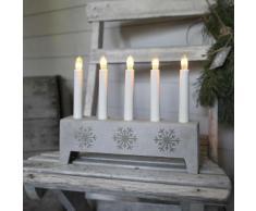 SNOWFLAKE-Chandelier Polypierre Gris Flocon 5 bougies ampoules 22cm gris clair Xmas Living Glass