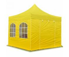 Tente pliante / pliable PREMIUM 3x3 m avec fenêtres en Polyester de qualité INTENT24 jaune