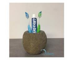 Porte-brosse à dents en pierre de rivière - Galéo