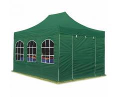 Tente pliante / pliable PREMIUM 3x4,5 m avec fenêtres en Polyester de qualité INTENT24 vert fonce