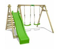 FATMOOSE Balançoire JollyJay Fast XXL Portique pour enfants avec 2 sièges de balançoire, plateforme