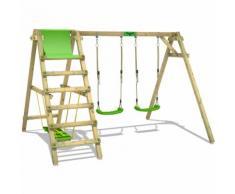 FATMOOSE Balançoire JollyJade Wave XXL Portique pour enfants avec 2 sièges de balançoire et planche