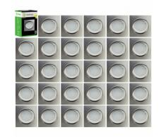 Lot de 30 Spot Led Encastrable Carré Alu Brossé Orientable lumière Blanc Chaud 5W eq. 50W ref.411