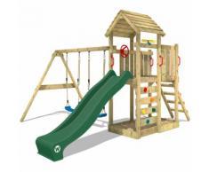WICKEY Aire de jeux MultiFlyer portique avec toit en bois, balançoire, mur d'escalade et toboggan,