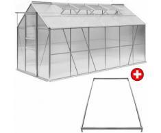 Serre de jardin en ALU incl. 4 Fenêtres 380x190x195cm + Fondation
