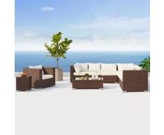 Salento Marron/Blanc : salon de jardin panoramique 8 places en résine tressée