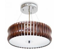 Plafonnier RINC Lampe de plafond Lustre abat-jour en bois rond 3 ampoules H 14cm diamètre 54cm