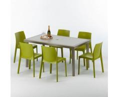 Table rectangulaire et 6 chaises Poly rotin resine ensemble bar cafè exterieur 150x90 Beige | Rome