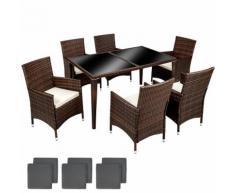 Salon de Jardin 6 Chaises 1 Table en Résine Tressée et Aluminium Marron