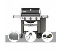 Barbecue gaz Weber Genesis II E-310 GBS Noir + Housse + Kit Ustensile + Thermomètre IGrill 3