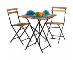 Meubles de jardin 2 chaises et 1 table pliable HxlxP: 76 x 60 x 60 cm terrasse balcon bois nature