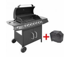 Barbecue à gaz 6 + 1 zone de cuisson Noir