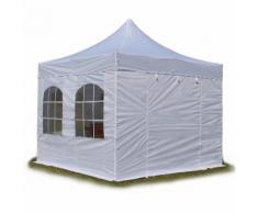 Tente pliante / pliable PREMIUM 3x3 m avec fenêtres en Polyester de qualité INTENT24 blanc