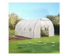 Serre de jardin tunnel 12 m² blanche translucide 3x4 m