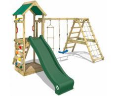 WICKEY Aire de jeux StarFlyer Portique de jeux en bois Tour d'escalade, toboggan verde + bâche verde