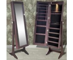 Armoire à bijoux sur pied avec miroir et éclairage LED Brun MAJA+ MJ241290