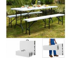 Ensemble Table bancs camping pliable - table buffet banc pliant jardin 180cm