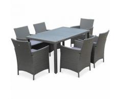 Salon de jardin Tavola 6 gris en résine tressée, table d'extérieur 150cm avec 6 fauteuils