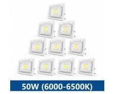 10×50W Projecteur LED IP65 Étanche Ultra-Mince Spot LED Léger Puissant Lampe pour Intérieur et