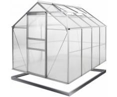 Serre de jardin en alu 7,6m³ incl. 2 fenêtres gouttière + Fondation