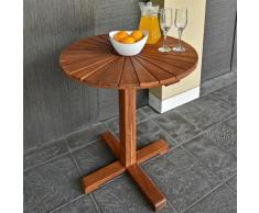 Table de jardin Sunrise balcon terrasse en bois d'acacia huilé Ø 70,5cm brun