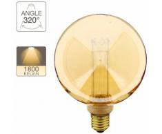 Ampoule LED déco hologramme globe verre ambre culot E27 blanc chaud