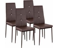 4 Chaises de Salle à Manger, Chaises de Cuisine, Mobilier de Salon Design Marron