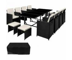 Salon de Jardin PALMA, Ensemble avec 8 Chaises 4 Tabourets et 1 Table en Résine Tressée et Acier