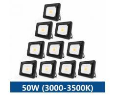 10×50W Projecteur LED IP65 Étanche Ultra-Mince Spot LED Léger Puissant pour Intérieur et Extérieur