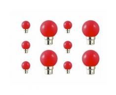 Lot de 10 ampoules led B22 pour guirlande lumineuse (7 couleurs d'éclairage) - Couleur - Rouge
