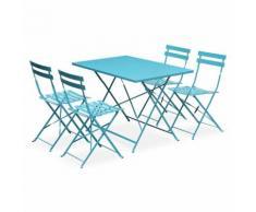 Salon de jardin bistrot pliable Emilia rectangulaire Turquoise avec quatre chaises pliantes, acier