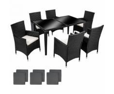 Salon de Jardin 6 Chaises 1 Table en Résine Tressée et Aluminium Noir