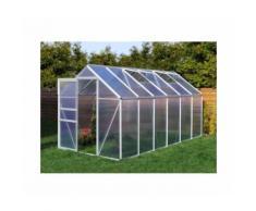 Serre de jardin 8.17 m² en aluminium avec porte et 2 fenêtres d'aération - 190x430 cm - Plantiflex
