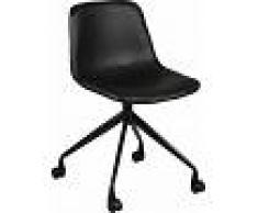 Chaise de bureau polyuréthane noir avec roulettes