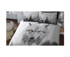 Parures de lit animales en polycoton : Double / Wolf Panel