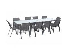 Ensemble de jardin : table extensible 135x270 cm / avec 10 chaises