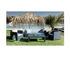 Salon de jardin en résine tressé : Ensemble de jardin 7 places : x1 sofa 3 places + 4 fauteuils + 2 tables
