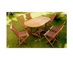 Salon de jardin en teck brut : 6 pers 6 chaises + table ovale