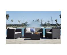 Salon de jardin en résine tressé : Ensemble de jardin 8 places : x2 sofas 2 places + 4 fauteuils + 2 tables