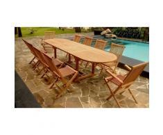 Salon de jardin en teck brut : 10 pers + 8 chaises + 2 fauteuils + table ovale