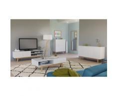 Collection scandinave Home : Bahut 2 portes / blanc-chêne blanchi
