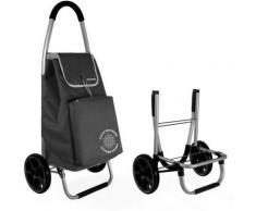 Chariot à courses Yoko isotherme pliable noire avec sac 55L