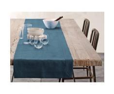 Chemin de table - lin déperlant - uni canard 050x180 cm Bleu Blanc Cerise