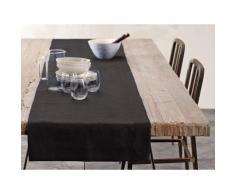 Chemin de table - lin déperlant - uni anthracite 050x180 cm Gris Blanc Cerise