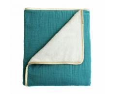 Couverture plaid bébé en polaire et coton Oeko-Tex LES ESSENTIELS - Fabriqué en France Vert Cocoeko