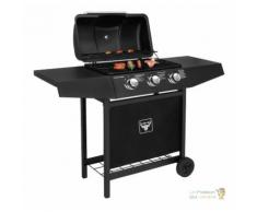 Barbecue à Gaz Mobile à 2 Roues, 3 Brûleurs, Noir, En Acier Inoxydable
