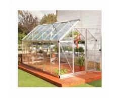 Serre de jardin en polycarbonate Harmony 6,84 m², Couleur Argent, Ancrage au sol Non - longueur :