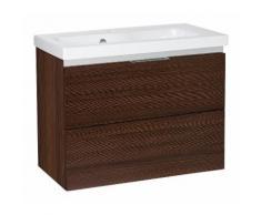Meuble sous vasque + vasque EOLA tranche ecru 2 tiroirs 610x580x380mm