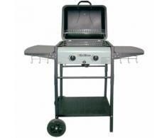 Barbecue à gaz GDLC GRILL 2 feux avec pierre de lave grille 42x39 cm et 2 tablettes repose plats