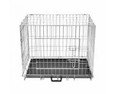 Cage en métal pliable pour chien acier galvanisé 95 x 56 x 64 cm
